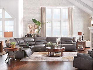 Dylan 3 Piece Power Leather Sectional With Console, , large