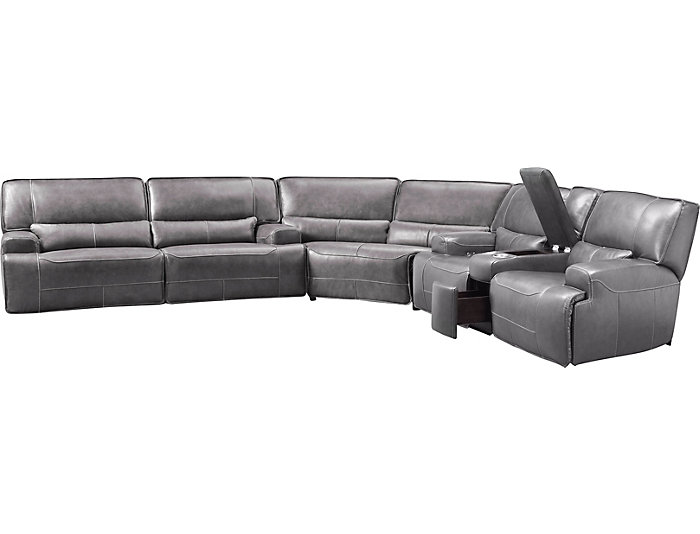 Magnificent Dylan Grey 3 Piece Power Leather Sectional With Console Inzonedesignstudio Interior Chair Design Inzonedesignstudiocom