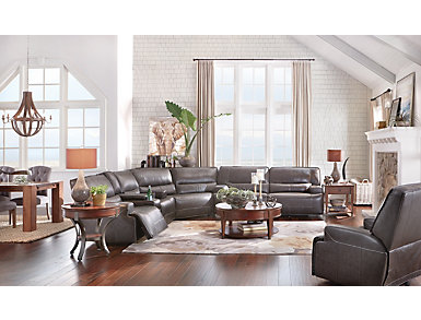 Dylan 3 Piece Power Leather Sectional, , large