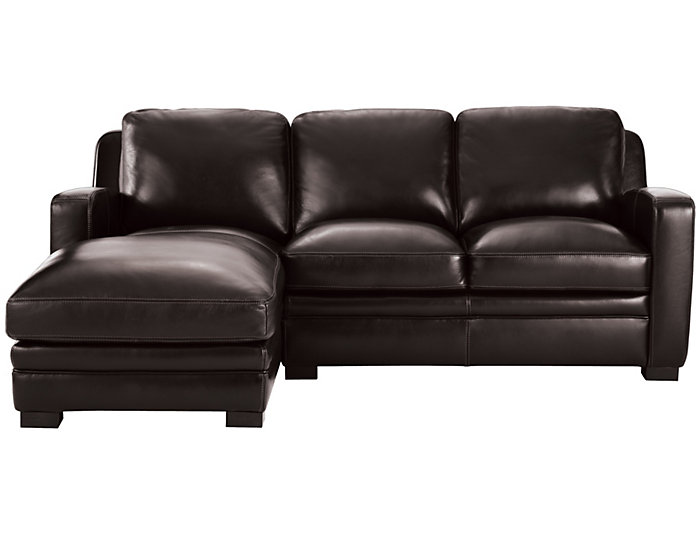 Theory Brown 2 Piece Left-Arm Facing Chaise Leather Sectional