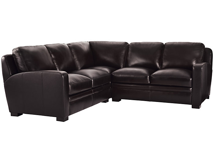 Theory Brown 3 Piece Leather Sectional
