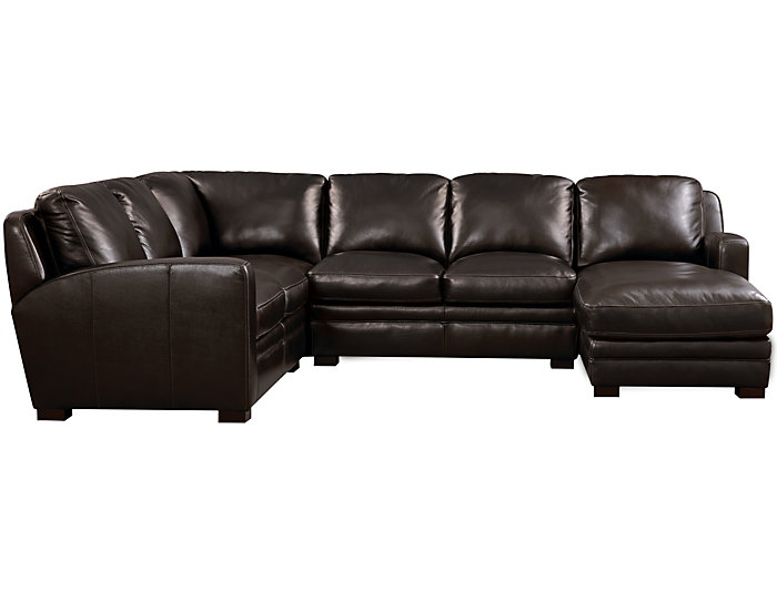 Theory 4 Piece Right-Arm Facing Chaise Leather Sectional