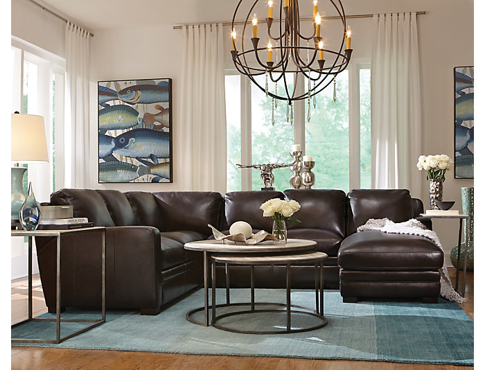 Sensational Theory 4 Piece Right Arm Facing Chaise Leather Sectional Inzonedesignstudio Interior Chair Design Inzonedesignstudiocom