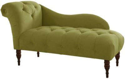 Adela Velvet Chaise, Green, swatch