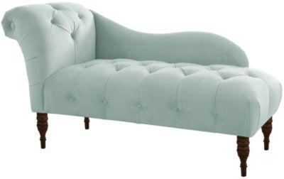 Adela Velvet Chaise, Blue, swatch