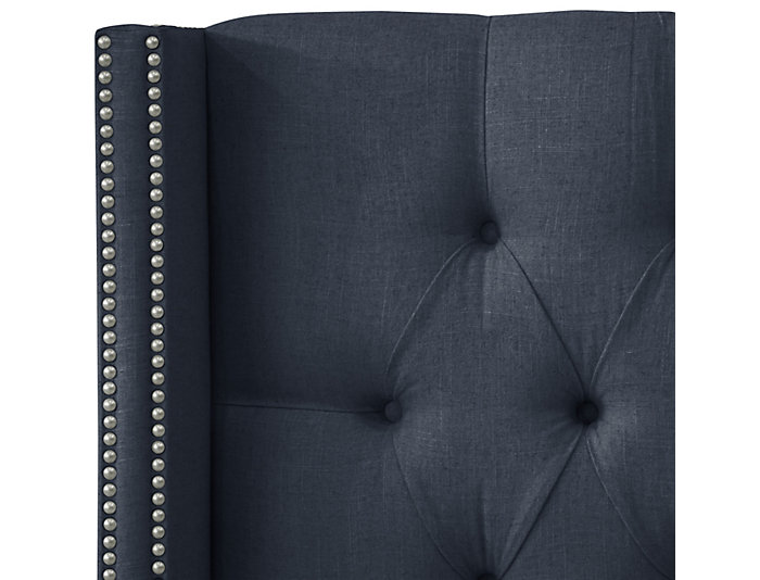 Alexis King Navy Wingback Bed, , large