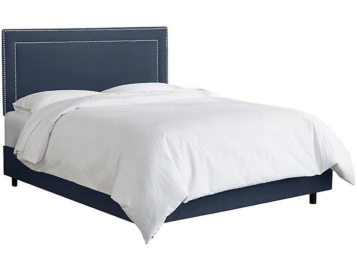 Twin Lazuli Blue Nailhead Bed