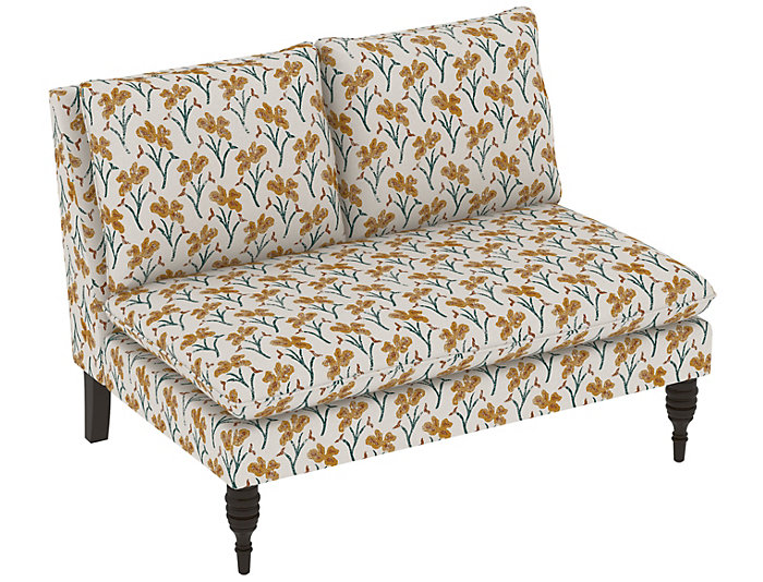 Sascha Armless Loveseat, Yellow, Yellow, large