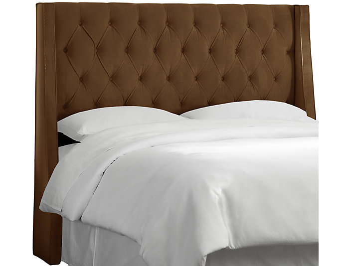 Full Chocolate Wingback Bed, , large