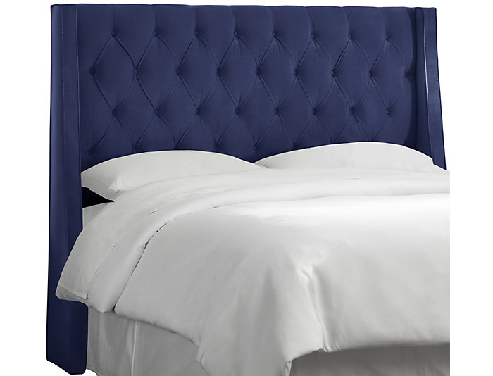 Queen Navy Wingback Bed, , large