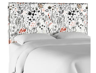 Full Botanical Red Headboard, , large