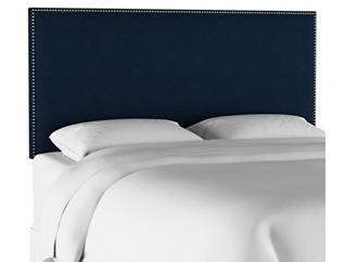 Full Navy Linen Headboard, , large
