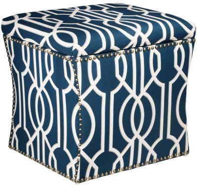 Zoe Storage Ottoman, Blue, swatch