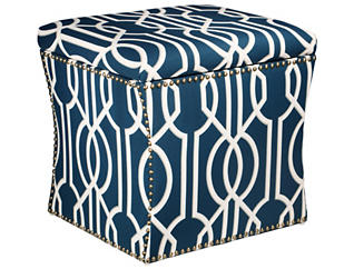 Zoe Storage Ottoman, Navy Blue, , large