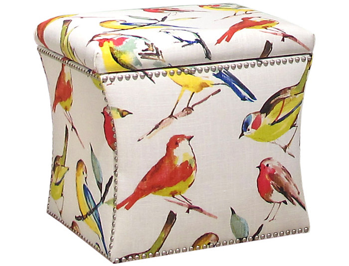 Zoe Storage Ottoman, Multicolor/Birds, , large