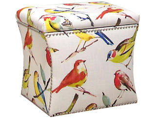 Zoe Storage Ottoman, Multicolor/Birds, , large