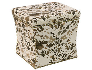 Zoe Storage Ottoman, Brown/Cow, , large