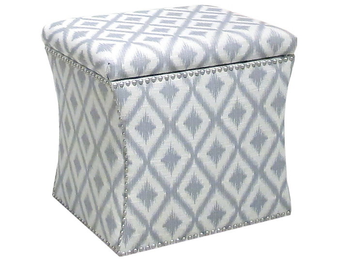 Zoe Storage Ottoman, Grey/Ikat, Grey, Large