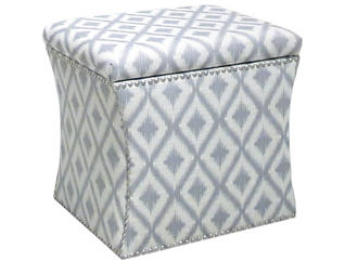 Zoe Storage Ottoman, Grey/Ikat, , large
