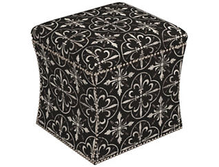 Zoe Storage Ottoman, Black, , large