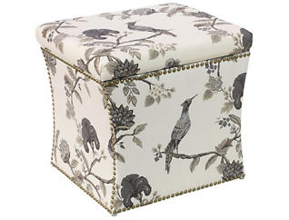 Zoe Storage Ottoman, Bird/Multicolor, , large