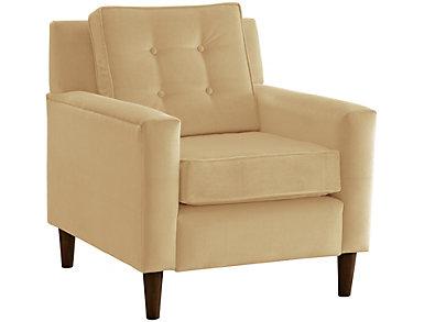 Flynn Velvet Chair, Beige, large