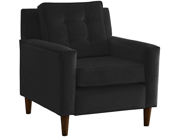 Flynn Velvet Chair, Black, Black, large