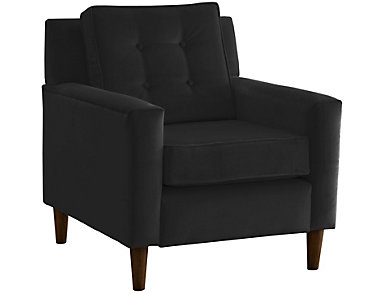 Flynn Velvet Chair, Black, Black, large