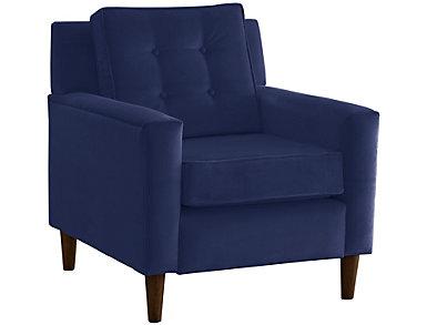 Flynn Velvet Chair, Blue, large