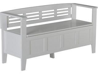 Brighton White Storage Bench, , large