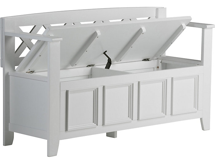 Pleasant Mission White Storage Bench Art Van Home Gmtry Best Dining Table And Chair Ideas Images Gmtryco