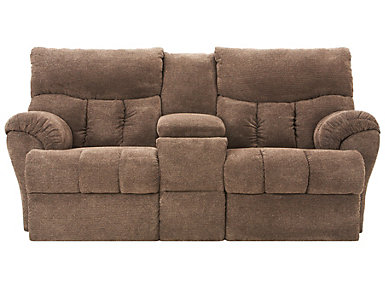 Southern Motion Refueler Reclining Console Loveseat, Brown, , large