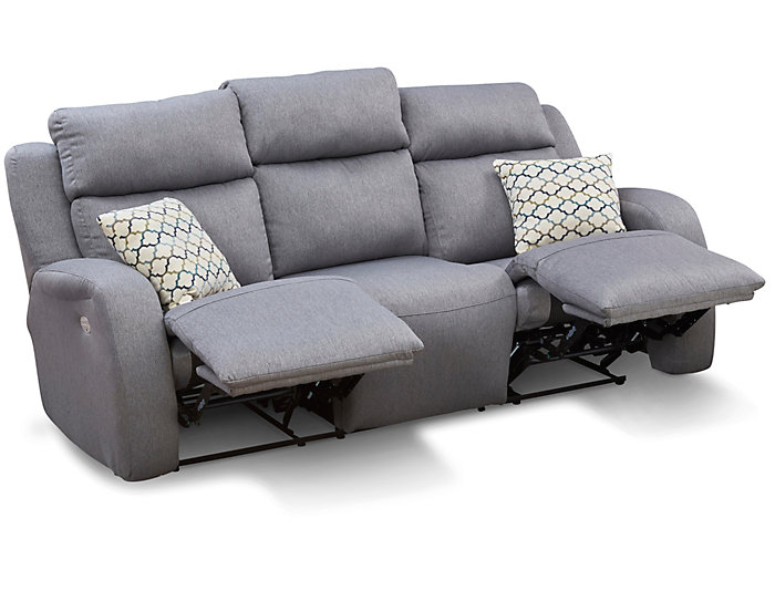 Southern Motion Grand Slam Dual Power Reclining Sofa, Grey, , large