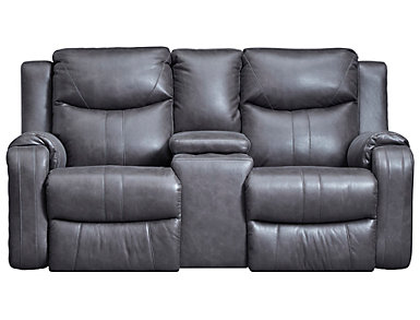 Marvel Reclining Console Loveseat, Grey, , large