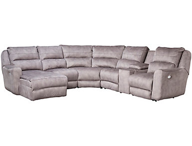 Producer 6 Piece Sectional with Left-Arm Facing Chaise, Grey, , large