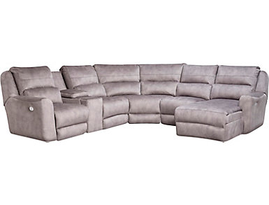 Producer 6 Piece Sectional with Right-Arm Facing Chaise, Grey, , large