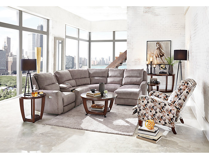 6 Piece Sectional with Right-Arm Facing Chaise, Grey, , large