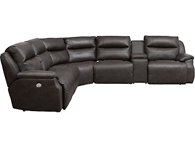 Five Star 6 Piece Power Sectional, Chocolate, , large
