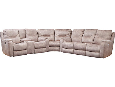 Royal Flush 3 Piece Dual Power Sectional With Sofa, Taupe, , large