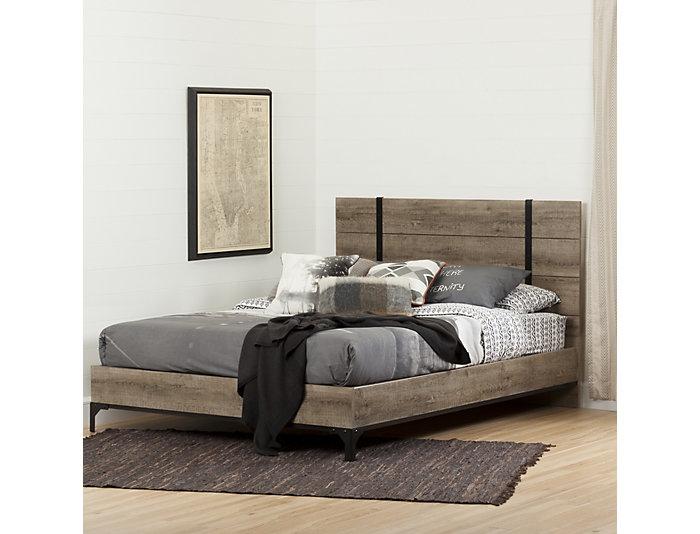 Valet Queen Oak Platform Bed, , large