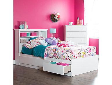 Vito Twin White Bed Set, , large