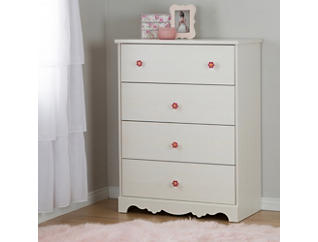 Lily Rose White 4-Drawer Chest, , large