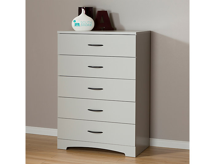 Step 1 Gray 5-Drawer Chest, , large