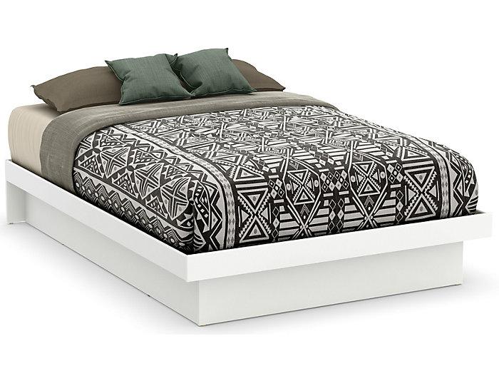 Basic Full White Platform Bed, , large