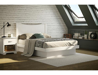 Basic Full White Platform Bed, , large