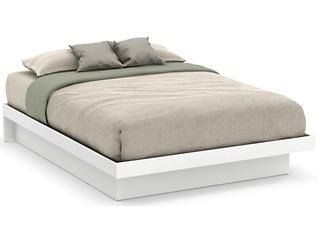 Basic White Queen Platform Bed, , large