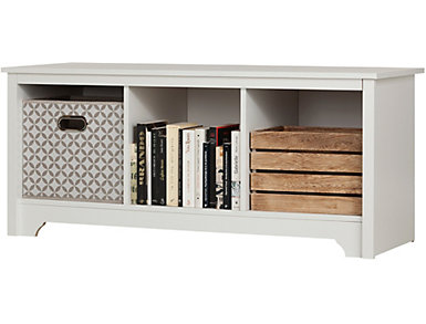 Nash Cubby Storage Bench, White, , large