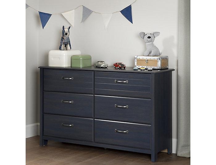 Ulysses Blue 6-Drawer Dresser, , large