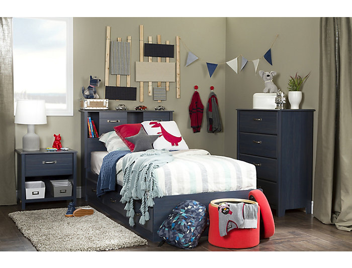 Ulysses Blue Twin Mates Bed, , large