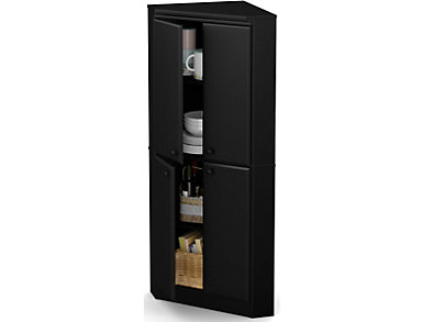 Willa 4-Door Armoire, Black, Black, large